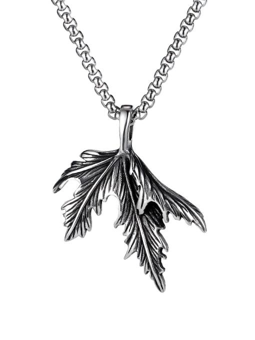 1939 [single pendant] Titanium Steel Leaf  Vintage Pendant